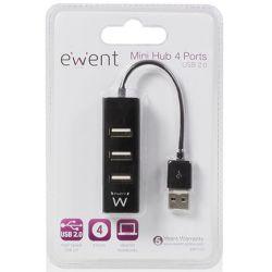 Hub 4 Port USB 2.0 Χωρις Τροφοδοτικο (Black) EW1123 INTRONICS
