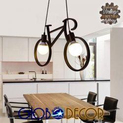 Vintage Κρεμαστό Φωτιστικό Οροφής Δίφωτο Μαύρο Μεταλλικό GloboStar BIKE 01213