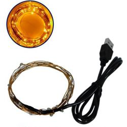 Διακοσμητική Γιρλάντα 2 Μέτρων 20 LED USB 5 Volt 1.2 Watt με Χάλκινο Συρμάτινο Καλώδιο Θερμό Λευκό 1600k GloboStar 80809