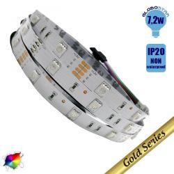 Ταινία LED Λευκή Professional Series 5m 7.2W/m 12V 30LED/m 5050 SMD 350lm/m 120° IP20 RGB GloboStar 79840