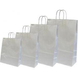 Χάρτινη τσάντα Υ35x26x12εκ. ασημί με στρογγυλό χερούλι 20 τεμάχια Next 31724