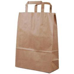 Χάρτινη τσάντα Υ28x22x10εκ. καφέ με πλακέ χερούλι 20 τεμάχια Next 31761