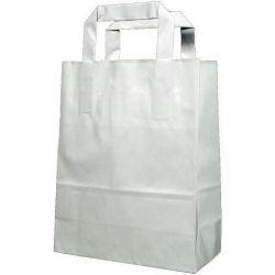 Χάρτινη τσάντα Υ22x18x8εκ. άσπρη με πλακέ χερούλι 20 τεμάχια Next 31757