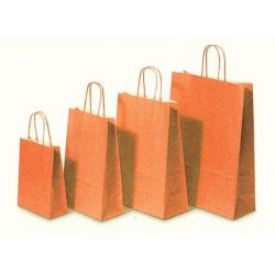 Χάρτινη τσάντα Υ35x26x12εκ. πορτοκαλί με στρογγυλό χερούλι 20 τεμάχια Next 31718