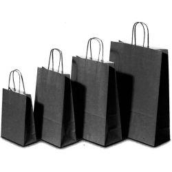 Χάρτινη τσάντα Υ22x18x8εκ. μαύρο με στρογγυλό χερούλι 20 τεμάχια Next 31706