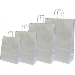 Χάρτινη τσάντα Υ31x22x10εκ. ασημί με στρογγυλό χερούλι 20 τεμάχια Next 31742