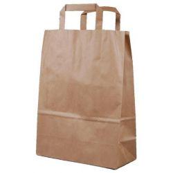 Χάρτινη τσάντα Υ35x26x12εκ. καφέ με πλακέ χερούλι 20 τεμάχια Next 31755