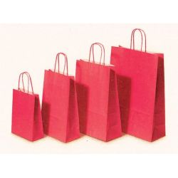 Χάρτινη τσάντα Υ22x18x8εκ. κόκκινη με στρογγυλό χερούλι 20 τεμάχια Next 31702