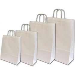 Χάρτινη τσάντα Υ22x18x8εκ. λευκή με στρογγυλό χερούλι 20 τεμάχια Next 31701