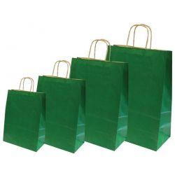 Χάρτινη τσάντα Υ35x26x12εκ. σκ. πράσινη με στρογγυλό χερούλι 20 τεμάχια Next 31720