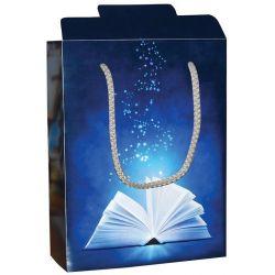 Χάρτινη τσάντα κουτί Υ22x16.5x6.5 Μπλέ βιβλίο 12 τεμάχια Next 26704