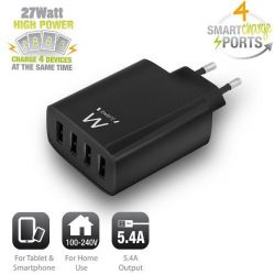 Charging Adapter Wall 4 X Usb 5.4A. Smart Ic. Black EW1314 INTRONICS