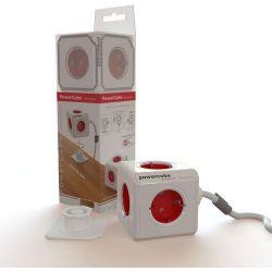 Πολυπριζο 5 Θεσεων Powercube 3M. White/Red BN3046 INTRONICS
