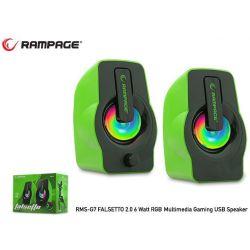 Ηχεια Η/Υ 6W Rms. Green Led Multimedia Gaming Usb Powered 30259 RAMPAGE