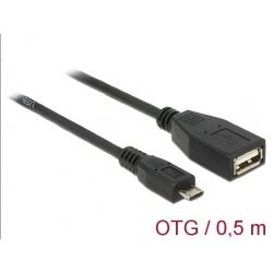 Usb Cable Type A Female To Type B Micro Male Otg 50 Cm 83183 DELOCK