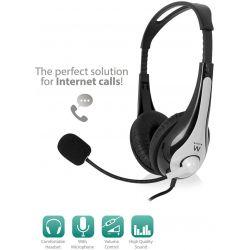 Headphone 2X 3.5Mm Jack. 2.1M. Grey-Black With Microphone EW3562 INTRONICS