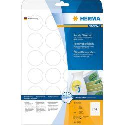 Ετικετες Στρογγυλες 40Μμ Λευκες 25 Φυλλα/600 Τεμαχια Herma