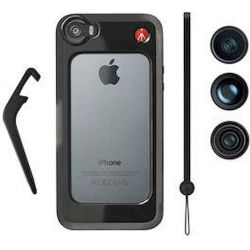 KLYP+ μαύρη θήκη για iPhone 5 & 5S + σετ από τρεις φακούς MKOKLYP5S Manfrotto