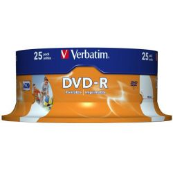 Dvd-R Printable Spindle 25 Τεμαχια Verbatim 4.7Gb/16X