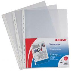 Ζελατινες Ενισχυμενες Με Τρυπες Ανοιγμα Πανω Pp Α4 Clear Deluxe 50 Τεμαχια Esselte