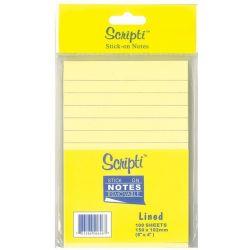 Αυτοκόλλητα χαρτάκια ριγέ κίτρινα 15x10 εκ.