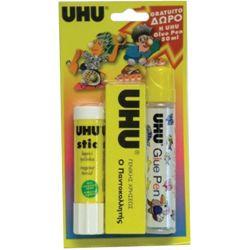 Σετ κόλλες stick & ρευστή & παντοκολλητής UHU