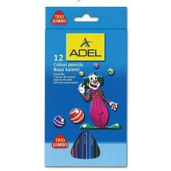 Ξυλομπογιές 12 τεμ. Jumbo Τρίγωνες Adel 21618
