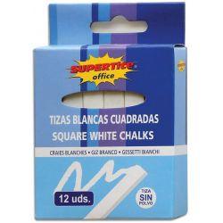Κιμωλίες Τετράγωνες 12 τεμ. Λευκές Supertite 31893