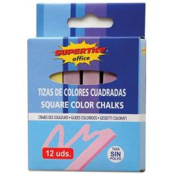Κιμωλίες Τετράγωνες 12 τεμ. Χρωματιστές Supertite 31894