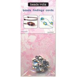 Ακροδέκτης Ασημί με Μεταλλικό Τελείωμα 9x7mm 3 τεμάχια Beads India 27924