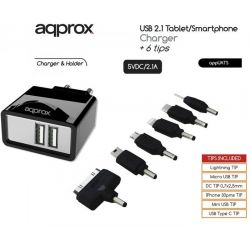 Charging Adapter WALL 2 x USB 2.1A + 6 TIPS UATS APPROX